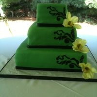 Green & Black Wedding Cake First wedding cake, and it flew with me and my 3 month old from Atlanta to Philly.....