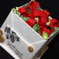 All Wrapped Up Christmas box cake donated for auction at a Childrens' Charity Fund Raiser
