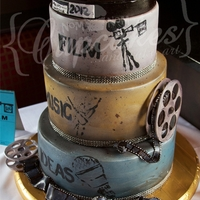 Capital City Film Festival 2012! This bad boy was waaay too much fun to create! The bottom tier is chocolate caramel chipl cake filled with a milk chocolate heath bar...