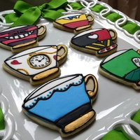 Alice In Wonderland Cookies For A 6 Year Olds Tea Party Butter Cut Outs With Glace Icing Alice in Wonderland cookies for a 6 year old's tea party. Butter cut outs with glace icing.