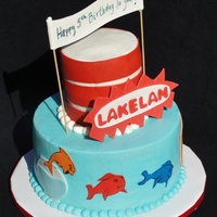 "Dr. Seuss Birthday Dr. Seuss-inspired birthday cake. A combination of The Cat in the Hat and One Fish Two Fish, Red Fish Blue Fish. French Vanilla 8"" and..."