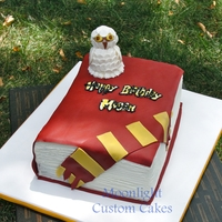 Harry Potter Book Cake A Harry Potter-inspired cake for a big fan. Hedwig the owl is my first molded figure - made of fondant/gumpaste. Book cover and scarf are...
