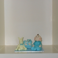 Baby Boy Waiting Made to go into display box for a friends baby shower,All edible and hand made.