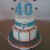Miami Dolphins Birthday Buttercream iced with fondant and gumpaste accents. Dolphins logos, footballs, and number 40 are all handcut gumpaste.