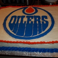 Edmonton Oilers  As requested, for a 30th birthday. Frozen buttercream transfer was my very first attempt at the technique. I'll definitely be doing...