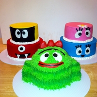 Yo Gabba Gabba Cakes White cake, buttercream icing, and fondant accents. Brobee is two 6-inch layers and half of a ball cake. His arms are fondant decorated...