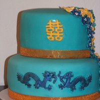 Chinese Dragon Cake This was a wedding cake for a small reception - their colors were turquoise and orange and their theme was the Chinese symbol for double...