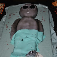Alien Autopsy (Halloween Birthday Party)  My daughter's 14th birthday party was this weekend, and she wanted an alien autopsy cake for the festivities. She was very specific...