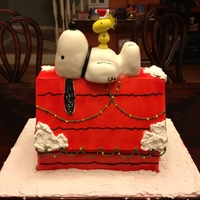Snoopy Christmas Cake The doghouse is made out of vanilla butter cake with eggnog-flavored buttercream, covered in fondant. Snoopy is RKT covered in fondant and...