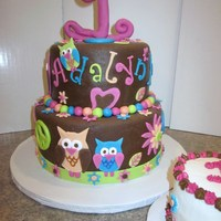 Owl Theme 1St. Birthday Cake is covered in homemade marshmallow fondant and all details are as well...except the #1...it is gumpaste.