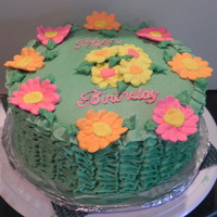 Happy Birthday Jessica Chocolate cake with cookies and cream filling, buttercream icing with royal icing flowers. My niece saw a picture on here of a cake with...