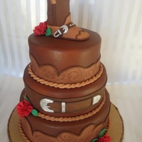 Cowboy Up! I did this wedding cake for an 75 year old couple that wanted a fun western themed wedding.