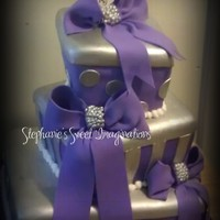 Purple And Silver Topsy Turvy Gift Box Cake Tfl Purple and Silver Topsy Turvy Gift Box Cake. TFL!