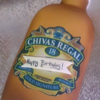 Chivas Regal Bottle Cake Vanilla Cake with raspberry filling