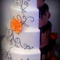 Two Toned White And Chocolate Wedding Cake I created this cake for a fellow caker. It was quite a challenge. The bride opted for a more contemporary spin on this popular cake, so...