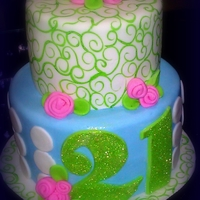 21St Birthday Cake Hand painted fondant accents. Apple green disco dust