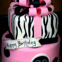 Zebra Gift Box Cake Hand painted accents. TFL! :)