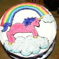 Unicorn Unicorn cake for a 4 year old. All buttercream. 10 inch round double layer cake.