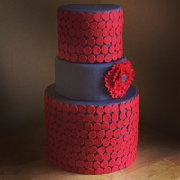 Red And Grey Wedding Cake  The picture doesn't do the colors justice but this is a grey and red wedding cake.I took inspiration from a fun kitchen backsplash i...