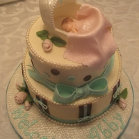 Shhh...the Baby Is Sleeping Sleeping baby in bassinet with teal, brown, and pink accents in marshmallow fondant. The cake is a chocolate cake with vanilla butter cream...