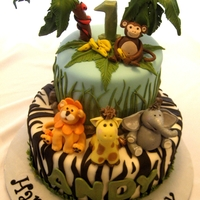 It's A Jungle Out There It's a jungle out there birthday cake for a little boy turning one year old. The cake is covered in MMF and the sugar work is in MMF...