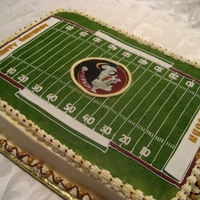 Football Field Birthday Football field birthday cake with scaled down dimension precision with FSU licensed edible image