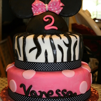 Minnie Mouse And Zebra I made this cake for my nieces 2nd birhtday to match her invitations.