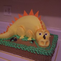 Dinosaur Cake My friend asked me to make this for her son's birthday. I adapted it from a photo she gave me of a Jane Asher cake......mine is not...