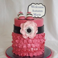 "Pink Baby Cake A baby shower cake made for a sweet little baby born a few weeks early. A double barrel cake made from 6"" rounds. Baby booties made..."
