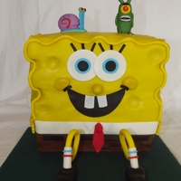 "Who Lives In A Pineapple Under The Sea? Spongebob Square Pants! Made from 10"" squares cut in half and stacked. Covered in mmf. I loved making this cake. And my kids had a lot of input. Gary and..."