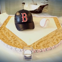 "Red Sox Baseball Hat And Ball Hat made from Wilton ball pan and a 6"" round. Carved a bit around the sides to make look realistic. Brim and letters made from..."