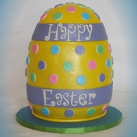 3D Easter Egg Cake Made from 6' rounds, half Wilton ball and a mixing bowl as the base. All chocolate cake and filled and covered in ganache. Shaped the...