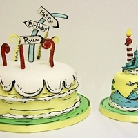 Dr. Suess Chocolate banana cakes with buttercream icing...Lrg. cake covered in fondant..smash cake has fondant accents, the cake toppers are made out...