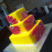 Funky Flowers Fondant covering Swiss meringue butter cream, Royal Icing flowers, Gluten free choc cake layers.