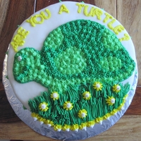 Turtle Round Cake  Going away cake for a guy that was PCS'ing (military). Yellow butter cake, with buttercream filling/crumb coat, and cream cheese...