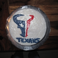 Texans Cake   Chocolate cake with buttercream frosting crumb coat/filling, fondant covered and decorations.