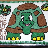 Turtle Sheet Cake  A 2nd cake for the guy pcs'ing (military). This is a chocolate cake with buttercream crumb coat and cream cheese fondant. Buttercream...
