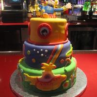 Yellow Submarine Three tier cake made for my daughters birthday. Yellow submarine theme party.