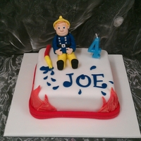 Fireman Sam Cake Simple fireman cake with vanilla sponge, jam butter cream. I made the figure from cover paste using Debbie browns instructions.