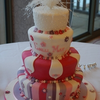 Christening Cake 4 tiers of tapered cakes, pink and white. Bottom is fruit the others flavoured sponge,