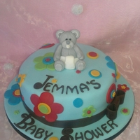 Teddy Flower Baby Shower chocolate cake with fondant icing