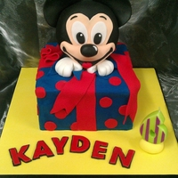 Mickey Surprise Mickey mouse in a box cake, all sponge with jam and cream