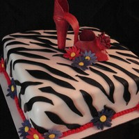 Zebra/ Red High Heel Made to match the bride's choice of shoes for her wedding day.