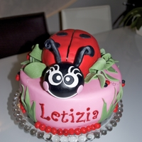 Lady Bug For my daughters 3 Birthday...everything edible and covered with fondant.