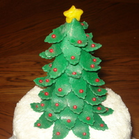 Oh Christmas Tree! Made this Christmas cake for a family party. Had so much fun making this cake! Tree is an ice cream cone covered in modeling chocolate. Red...