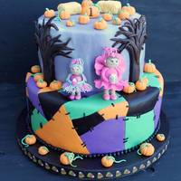 Halloween Happy Birthday! This cake for a little girl who was turning 1. The client was a guest at a wedding where I did a Nightmare before Christmas cake (in my...
