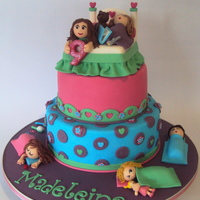 Sleepover Party Cake Inspired by Bratty Cakes, my client asked me to replicated this cake with a few changes mostly colour and some extra sleeping girls. Love...