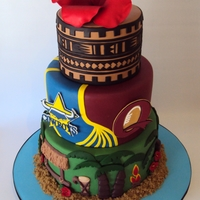 Samoa, Rugby, Tattoo Cake - Three Tiers To Represent Him Red Hibiscus on the top to represent his Father Top tier - His actual tattoo design Middle tier - Nth QLD Cowboys & MaroonsBottom tier...
