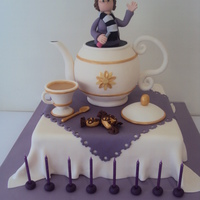 Vals Tea Party  My customer Val asked for me to make a cake with all her favourite things; Tea, Chocolate Eclairs, Purple (her favourite colour),...