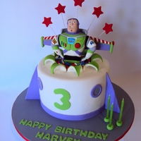 "Buzz Lightyear Handmade Buzz topper in a 8"" round"